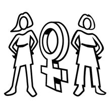 Zeichnung zweier Frauen rechts und links von einem Frauen-Symbol